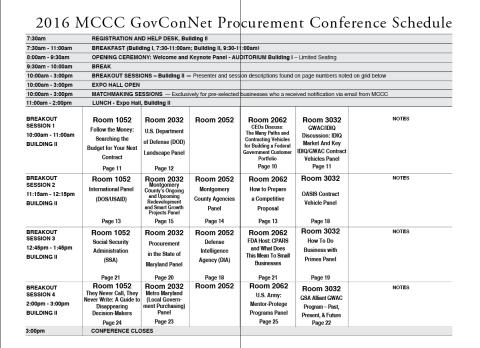 2016 GovConNet Procurement Conference - Schedule