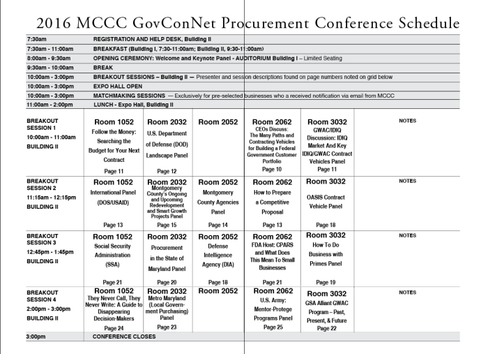 2016 GovConNet Procurement Conference - Schedule